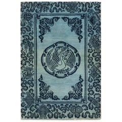 Antique Blue Background Tibetan Rug