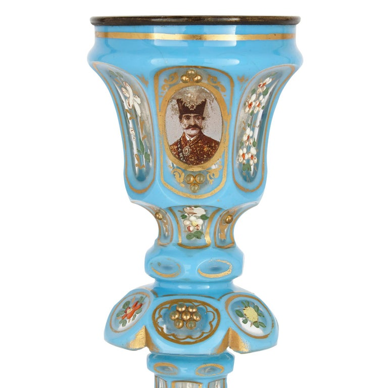 Islamic Antique Blue Bohemian Glass Hookah Pipe For Sale