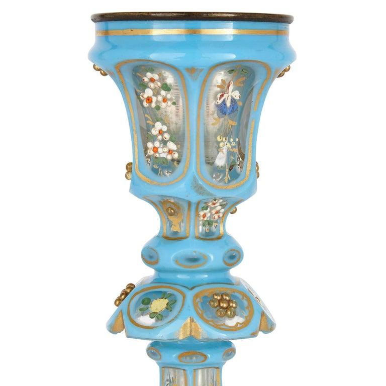 Czech Antique Blue Bohemian Glass Hookah Pipe For Sale
