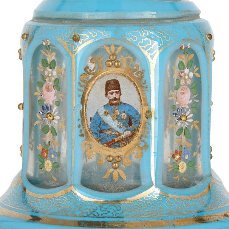 Enameled Antique Blue Bohemian Glass Hookah Pipe For Sale