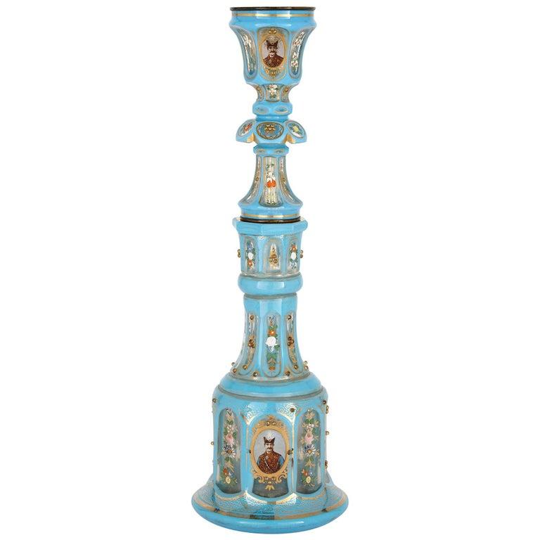 Antique Blue Bohemian Glass Hookah Pipe For Sale