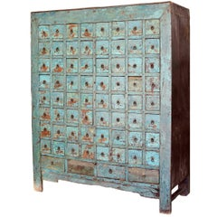 Antique Blue Chinese Apothecary Cabinet 68 Drawers Iron Clad
