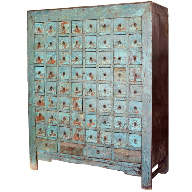 Antique Blue Chinese Apothecary Cabinet, 68 Drawers, Iron Clad