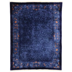 Antique Blue Chinese Area Rug with Qing Dynasty Style, Indigo Chinese Qing Rug