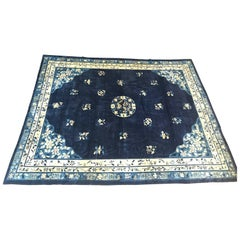 Antique Blue Chinese Peking Rug, 1920