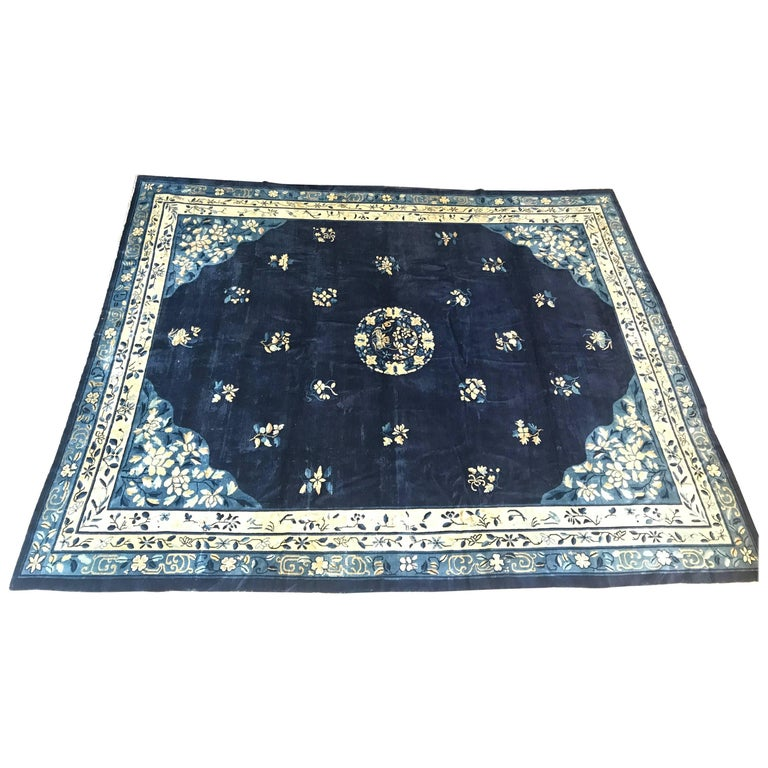 Antique Blue Chinese Peking Rug, 1920 For Sale At 1stdibs