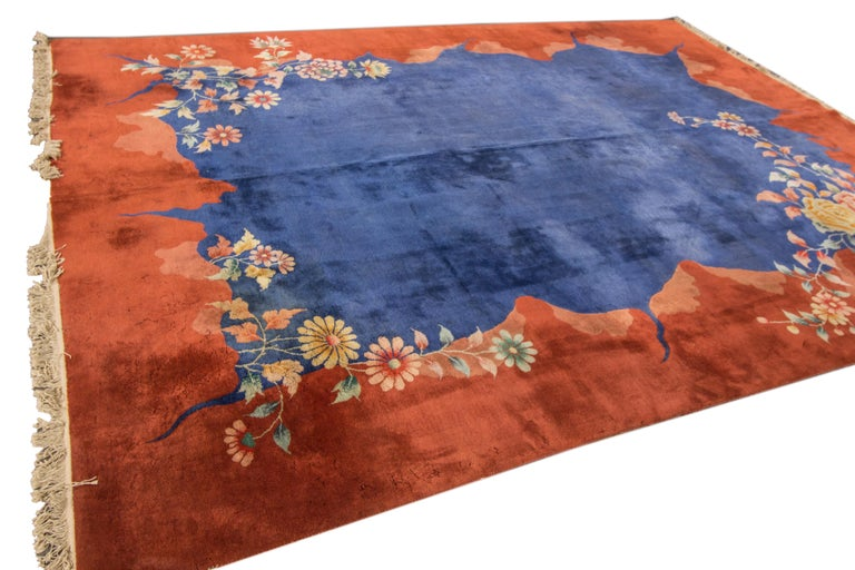 Chinese Export Antique Blue Chinese Peking Wool Rug For Sale