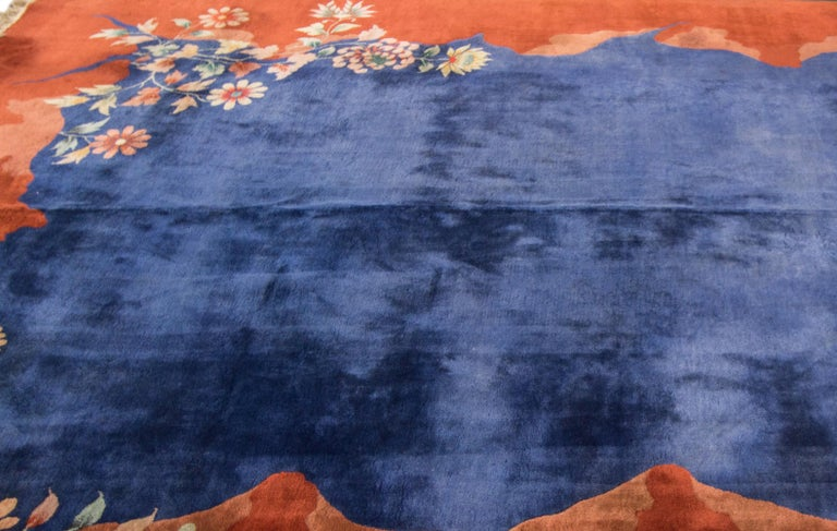 Hand-Knotted Antique Blue Chinese Peking Wool Rug For Sale