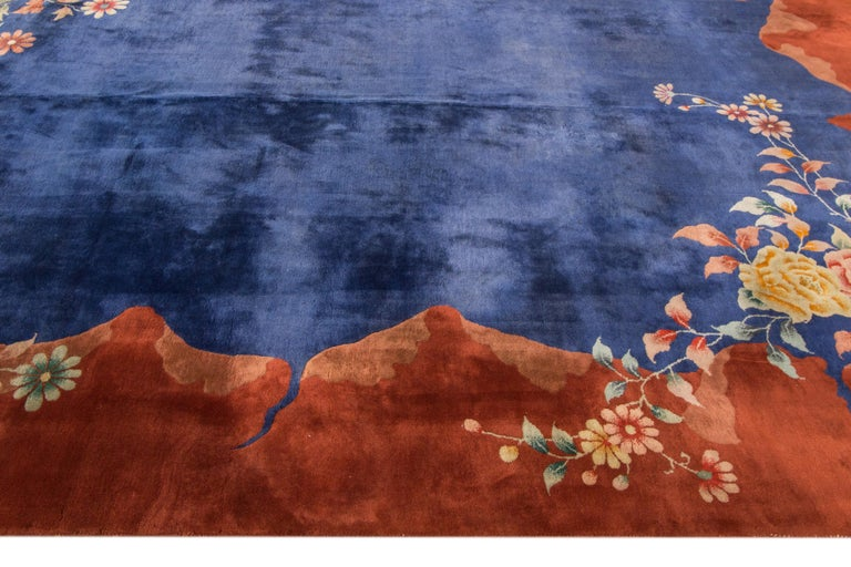 Antique Blue Chinese Peking Wool Rug In Excellent Condition For Sale In Norwalk, CT
