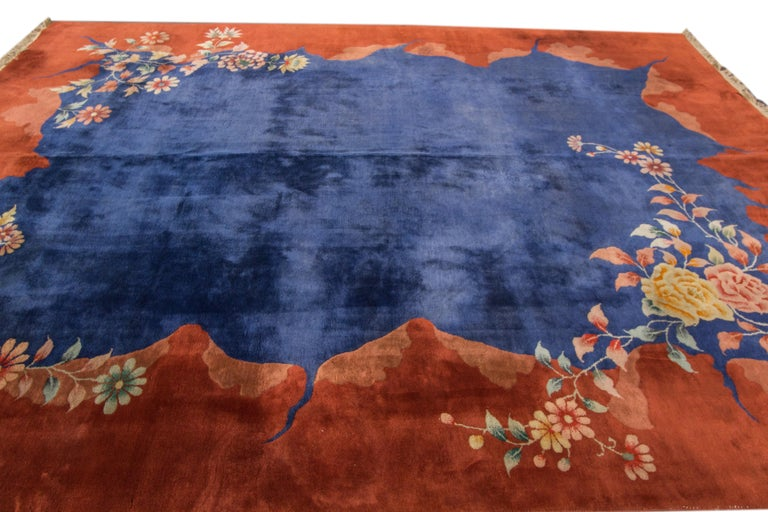 20th Century Antique Blue Chinese Peking Wool Rug For Sale