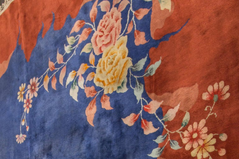 Antique Blue Chinese Peking Wool Rug For Sale 1