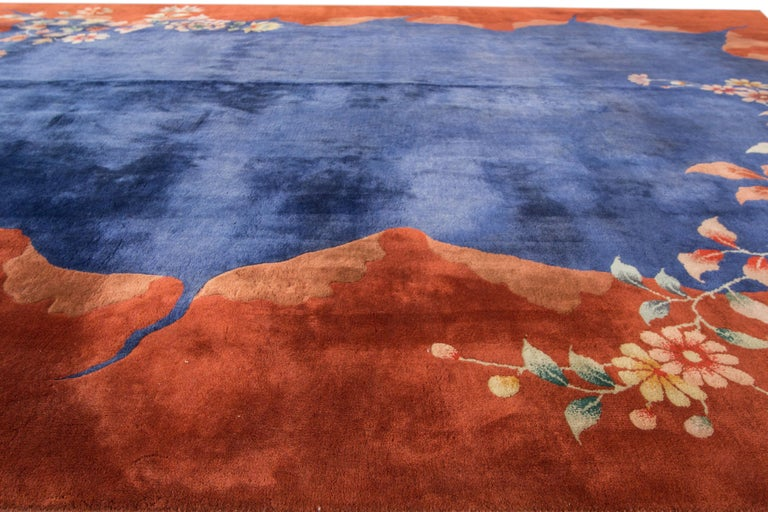 Antique Blue Chinese Peking Wool Rug For Sale 2