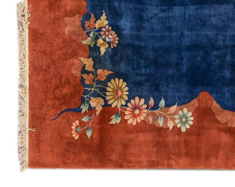 Antique Blue Chinese Peking Wool Rug For Sale 3