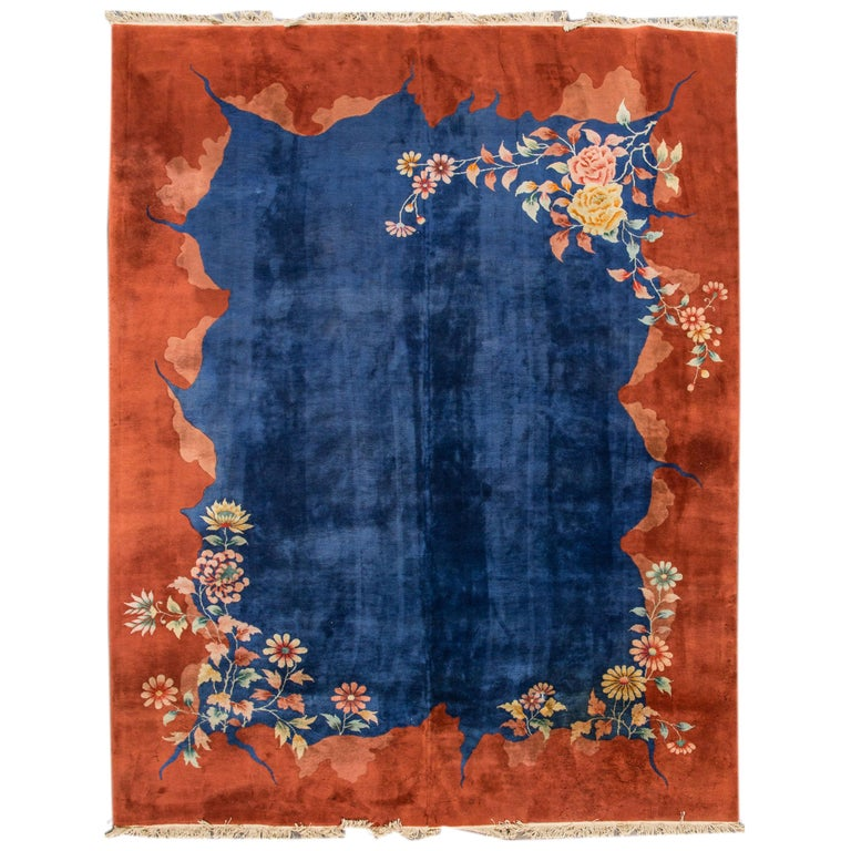 Antique Blue Chinese Peking Wool Rug For Sale