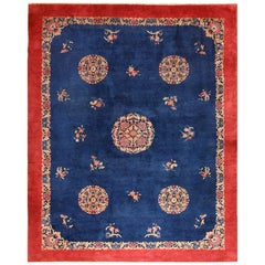 Antique Blue Chinese Rug. Size: 11 ft x 13 ft 7 in (3.35 m x 4.14 m)
