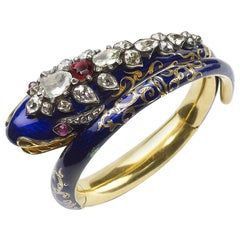 Antique Blue Enamel and Diamond Snake Bangle, circa 1850