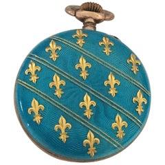 Antique Blue Enamel Inlaid with Gold Fleur-de-lis Silver Fob Watch