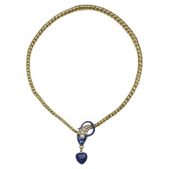 Antique Blue Enamel Pearl and Gold Snake Necklace with Heart Locket, circa 1850