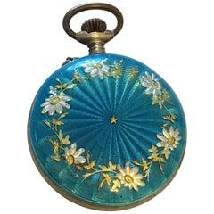 Antique Blue Enamel Silver Fob Watch, circa 1890
