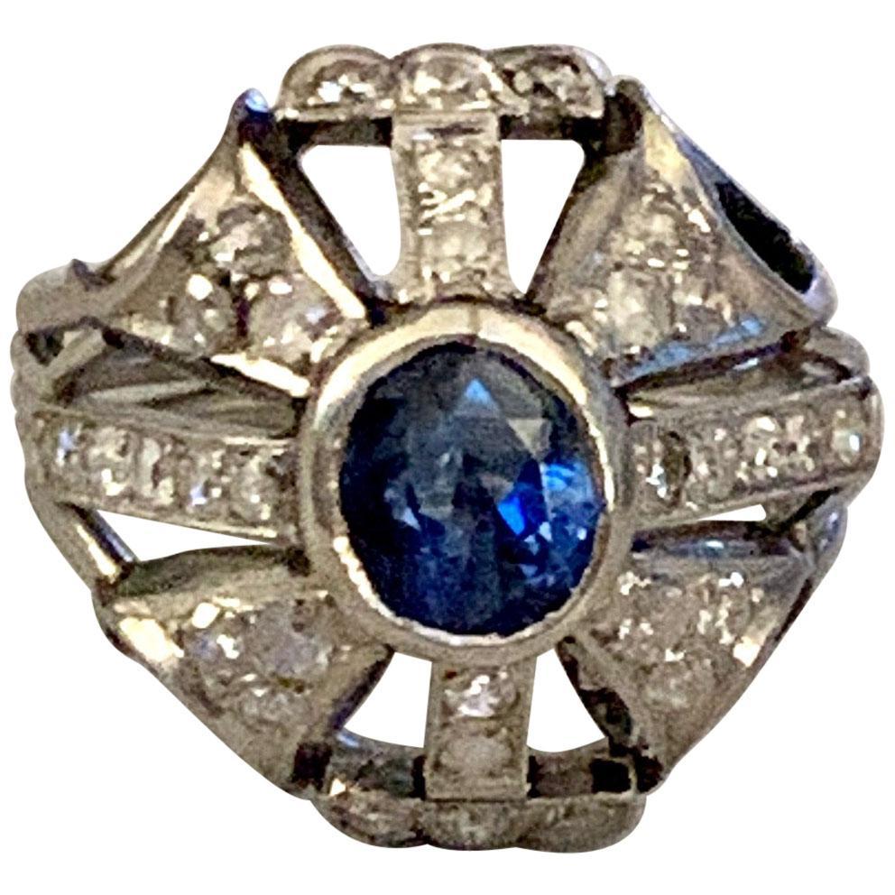 Antique Blue Faceted Sapphire and Diamond Platinum Ring