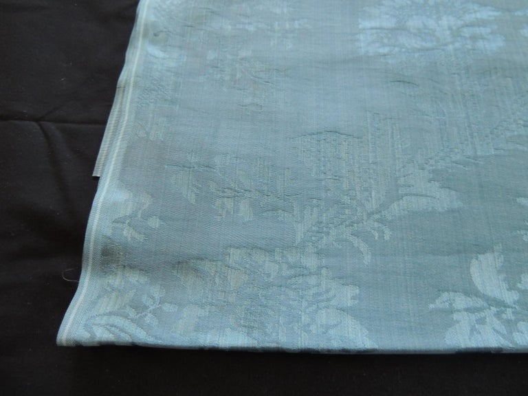 Antique blue floral silk damask textile panel Ideal for upholstery or pillows. (large repeat) Size: 21