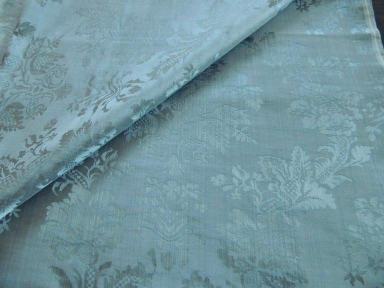 Regency Antique Blue Floral Silk Damask Textile Panel For Sale
