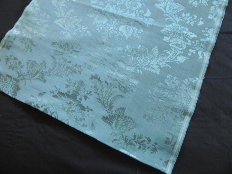 French Antique Blue Floral Silk Damask Textile Panel For Sale