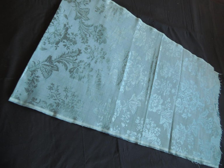 Hand-Crafted Antique Blue Floral Silk Damask Textile Panel For Sale