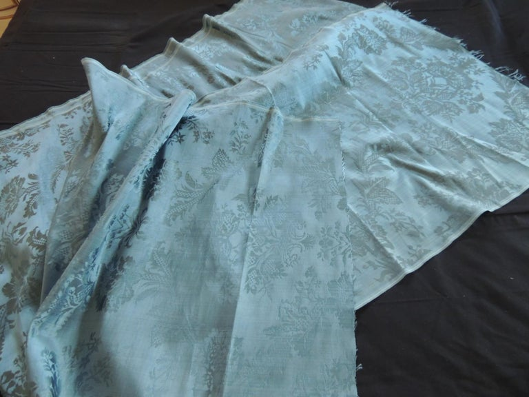 Antique Blue Floral Silk Damask Textile Panel In Good Condition For Sale In Wilton Manors, FL