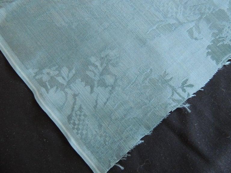 19th Century Antique Blue Floral Silk Damask Textile Panel For Sale