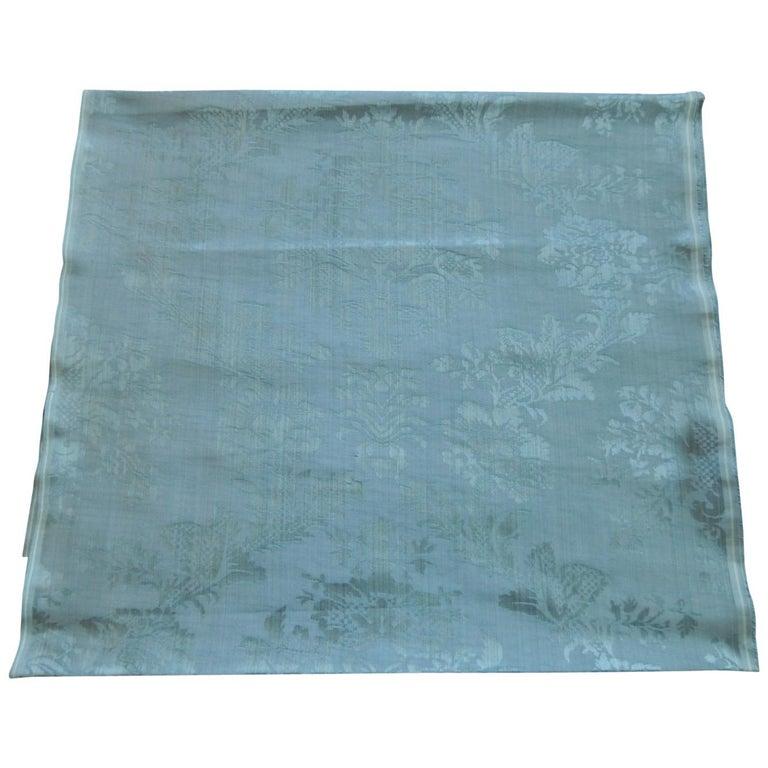 Antique Blue Floral Silk Damask Textile Panel For Sale