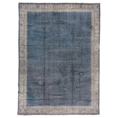 Antique Blue French Savonnerie Carpet, Solid Blue Field, Gray Borders