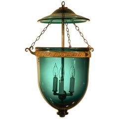 Antique Blue Green Teal Bell Jar Lantern