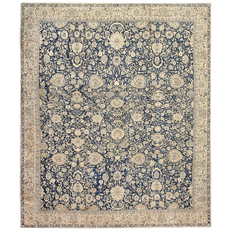 Antique Indian Agra Rug For Sale At 1stdibs: Antique Blue Indian Agra Rug For Sale At 1stdibs