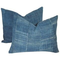 Antique Blue Linen Homespun Pillows, Pair