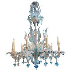Antique Blue Murano Glass Chandelier