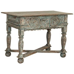 Antique Blue Painted French Side Table with Carved Faces