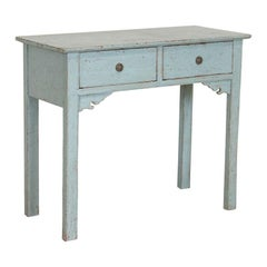 Antique Blue Painted Small Console Sideboard from Sweden
