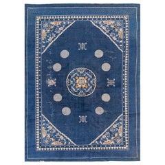 Antique Blue Peking Chinese Wool Rug