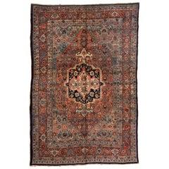Antique Blue Persian Bijar Rug circa 1900-1910s