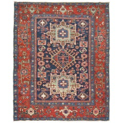 Antique Blue Persian Heriz Square Karadja Rug