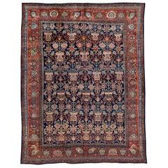 Antique Blue Persian Malayer Handmade Wool Rug