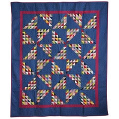 Antique Blue Pinwheel Quilt