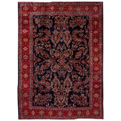 Antique Blue Sarouk Farahan Persian Handmade Wool Rug