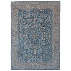 Antique Blue Tabriz Carpet, circa 1930s