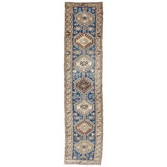 Antique Blue Tribal Karajeh Runner with Navy Blue and Earth Tones