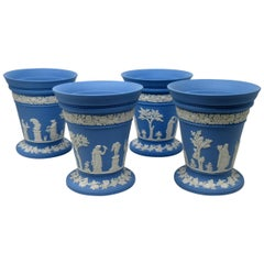 Antique Blue Wedgwood Jasper Ware Vases Urns Mythological Classical Scenes Set 4