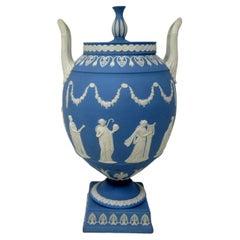 Antique Blue Wedgwood Jasperware Ceramic Urn Vase After John Flaxman Cherubs