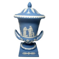 Antique Blue Wedgwood Jasperware Ceramic Urn Vase Mythological Classical Scenes