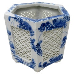 Antique Blue White Japanese Chinese Export Reticulated Hexagonal Porcelain Vase